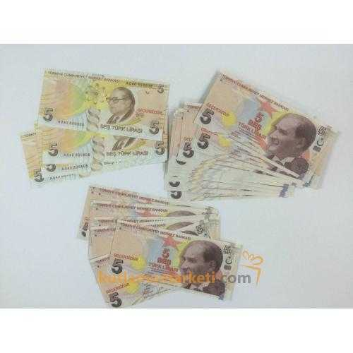 Geçersiz 100 Adet 5 Lira